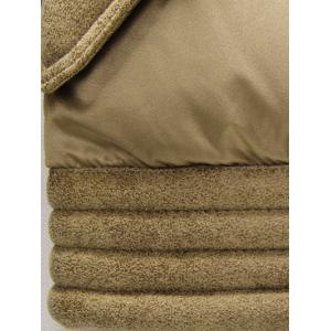 Turndown Collar Zip-Up Flocking Down Jacket - KHAKI L