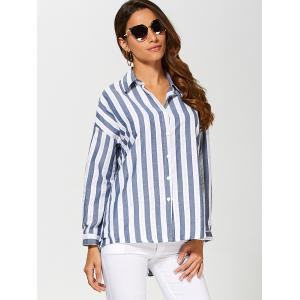 Striped Drop Shoulder Formal Shirt - DEEP BLUE 2XL