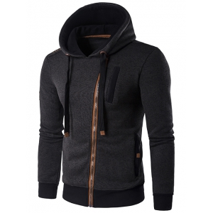 Hooded Oblique Zip-Up Edging Design Hoodie