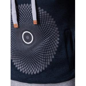 Graphic and Geometric Print Cotton Blends Drawstring Hoodie - CADETBLUE XL
