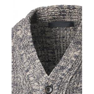 V-Neck Single-Breasted Knit Blends Cardigan - GRAY XL