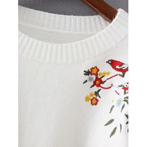 Chinese Painting Embroidery Jumper Sweater - WHITE ONE SIZE