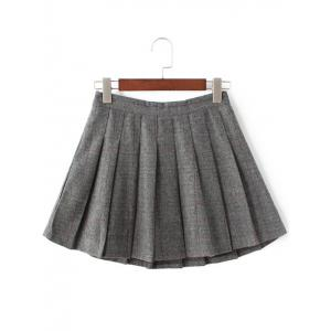 Pleated Mini Wool Tennis Skirt - GRAY L