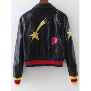 Rivet Star Moon Patched Bomber Jacket -