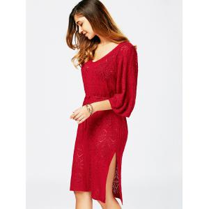 Hollow Out V Neck Sweater Dress -