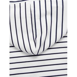 Long Sleeve Button Striped Drawstring Hoodie - WHITE S