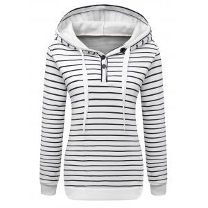 Long Sleeve Button Striped Drawstring Hoodie - White - S