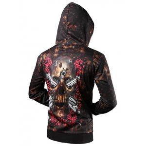 Zip Up Skull 3D Printed Drawstring Hoodie - BROWN 2XL