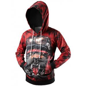 Zippered Rib Insert Graphic Hoodie