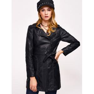 Faux Leather Zip Belted Coat -