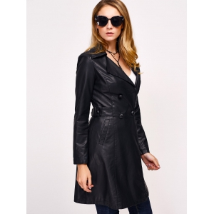 Double-Breasted Faux Leather with Pockets Coat -