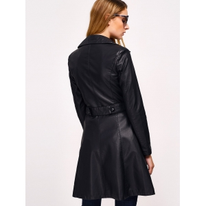 Double-breasted Faux cuir avec poches Manteau -