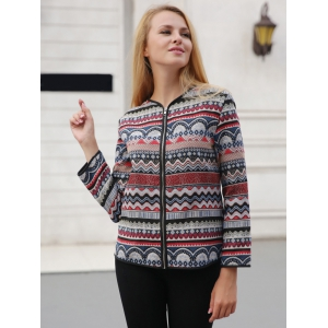 Ornate Print Zipper Design Jacket -