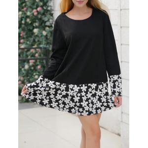 Long Sleeve Floral Print Shift Dress - BLACK 5XL