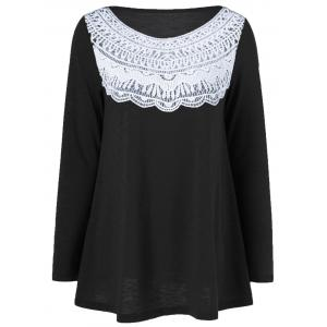 Lace Splicing Pleated T-Shirt