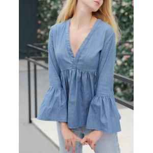 Jean Bell Sleeve Peplum Ruched Blouse
