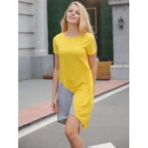 Asymmetrical Contrast Casual Dress With Short Sleeve -