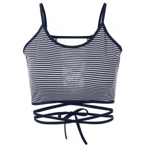 Strappy Striped Cami Cropped Tank Top