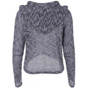 Hooded Long Sleeve Drawstring Sweater -