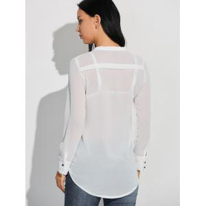 Sheer Long Sleeve Crossover Low Cut T-Shirt - WHITE 2XL