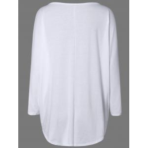 High Low Plus Size Plain T-Shirt - WHITE 2XL