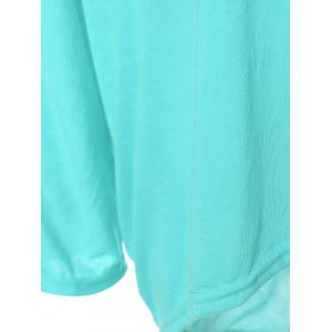 High Low Plus Size Plain T-Shirt - PHOTO CYAN 2XL