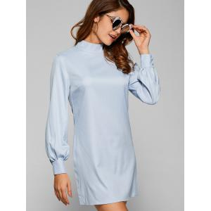 Long Sleeve Cut Out Plain Chiffon Dress - SPA S