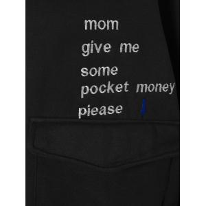 Funny Letters Embroidery Pocket Drawstring Hoodie -