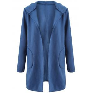 Big Pocket Hooded Long Cardigan - Light Blue - L