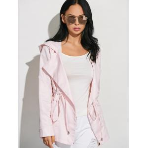 Drawstring Waist Hooded Casual Trench Jacket -