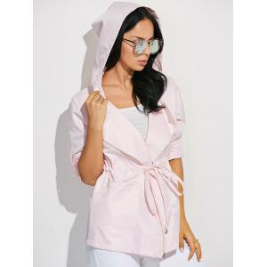 Drawstring Waist Hooded Casual Trench Jacket - PINK M