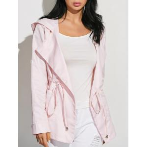Drawstring Waist Hooded Casual Trench Jacket - Pink - M