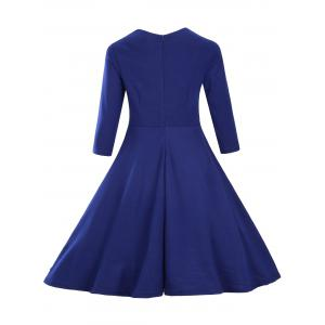 Vintage Fit and Flare Dress - BLUE 2XL