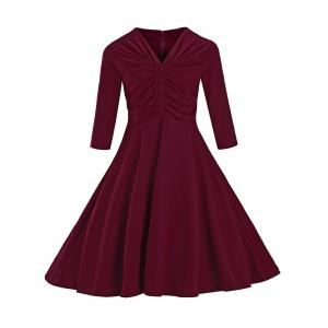 Vintage Fit and Flare Dress - Wine Red - M