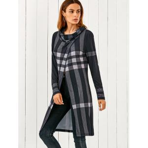 Cowl Neck Front Slit Plaid T-Shirt - CHECKED M
