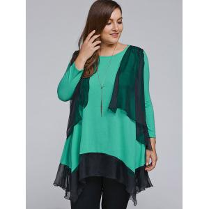 Plus Size Overlay Chiffon Patchwork Asymmetrical Blouse -