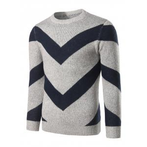 Crew Neck Striped Jacquard Pullover Heather Sweater - Light Gray - L