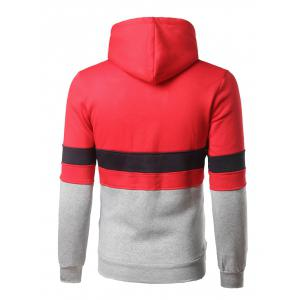 Color Block Kangaroo Pocket Pullover Hoodie - RED L