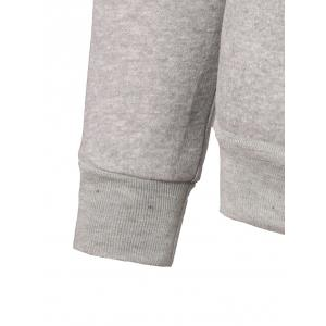 Letter Embroidery Kangaroo Pocket Pullover Hoodie - LIGHT GREY 3XL