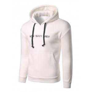Letter Embroidery Kangaroo Pocket Pullover Hoodie