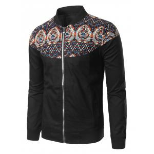 Zip Up Stand Collar Vintage Printed Jacket - Black - 3xl
