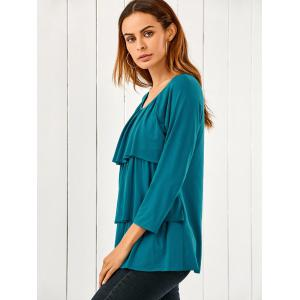 Raglan Sleeve Layered Blouse - LAKE BLUE M