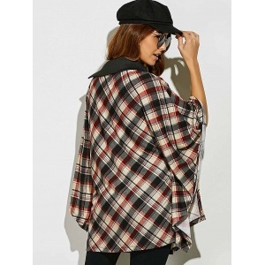Side Collar Plaid Cape Blouse - CHECKED M