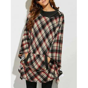 Side Collar Plaid Cape Blouse