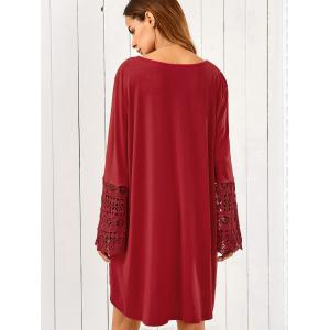 Lace Trim Long Sleeve High Low Tunic Dress - DARK RED XL
