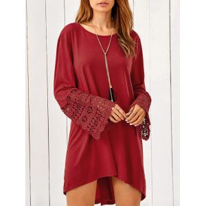 Lace Trim Long Sleeve High Low Tunic Dress