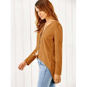 Lace-Up Suede Pullover -