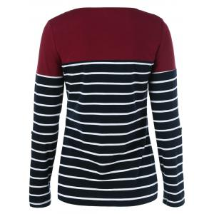 Adjustable Sleeve Striped T-Shirt -