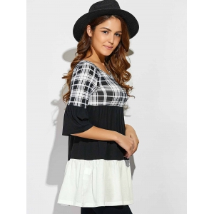 Plaid Patchwork Babydoll Blouse -