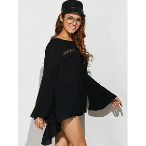 Lace Insert Flare Sleeve Smock Blouse -